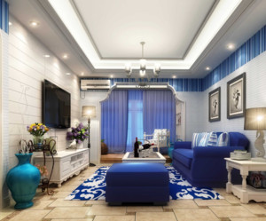 90平米地中海风格客厅装修效果图