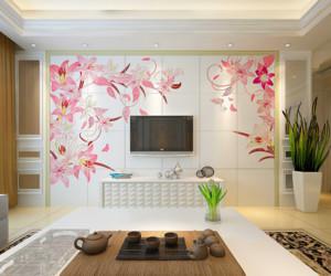 背景墙的装修简洁大方,花色的图案装修背景墙,将电视围在中间,非常漂亮。白色的电视柜和背景墙搭配的很完美,而且用的是瓷砖,清理也方便。