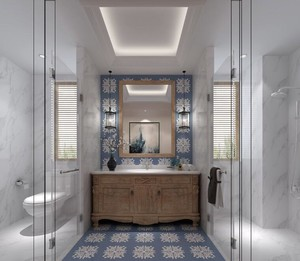 这个卫生间装修的非常具有个性,细节部分做的很到位。中间是浴室柜部分,左边是马桶,右边是淋浴房,并且做了两个隔断,很好的划分了空间。
