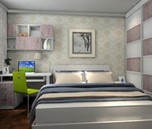卧室的布置整洁干净,这归功于卧室强大的收纳功能。使用的床是收纳床,可以将不常用的被子放进去,还有借助墙面安装的置物架,平时的琐碎小物品就可能放进去。这样卧室就能更温馨。