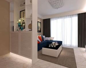 这个客厅使用了一个简易的隔断,不仅划分了客厅和餐厅,而且很好的保护了客厅的私密性,隔断的收纳功能也不错,一点也不占空间。