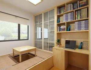 这款榻榻米装修的设计十分的新颖具有创意感,书架带书桌的设计充分的利用了柜体的存储空间,带来了十分不错的体验。