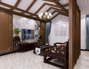新中式客厅隔断设计效果图
