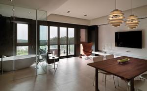 简约又极具创意感的家居,是每个人的向往,客厅与餐厅的开阔感,让家变得更通透,灯具的装饰很好的中和了简约感,设计很得体。