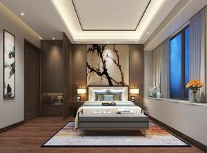 """中等户型卧室一般都装得比较""""规矩"""",家具也基本是收纳柜、床以及床头柜,想营造层次感可以做吊灯,不做也没事。此图为新中式卧室装修风格效果图。"""