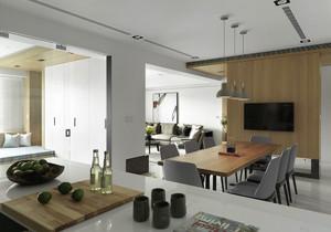 整体的家居色调很令人舒适,在配色上采用灰白两种色调的介乎,餐厅的木质背景墙突出了自然感,为家居带来更多的精致。