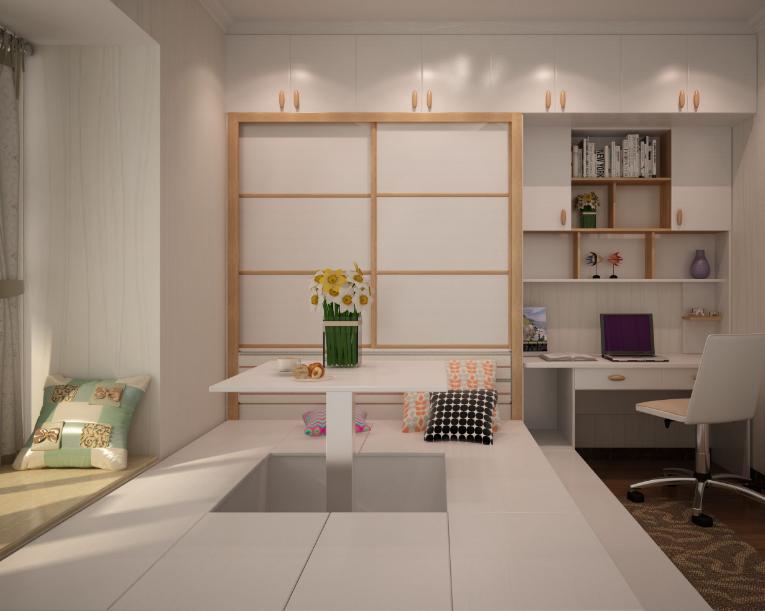 现代日式风格卧室榻榻米装修效果图