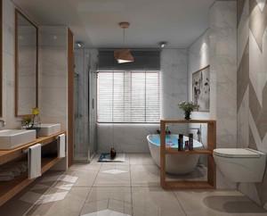 这个中式卫生间的装修非常新颖,使用了大量的大理石加木质线条设计,而且浴室柜使用的是双人设计,这也符合中式设计的特点。