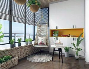 客厅阳台是最接近大自然的地方,可以选择一些植物、花草等自然植物,在装扮阳台的同时,也点缀了客厅的美。同时摆放上一个吊椅,休息的时候,可以在阳台看看书,放松放松心情。