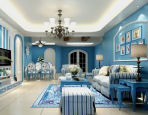 90平米地中海风格客厅装修设计效果图