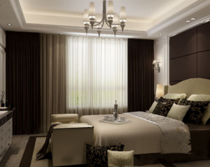 现代简约风格卧室窗帘装修设计效果图