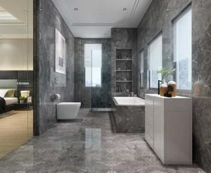 这是一个现代风格的卫生间装修,可以看出卫生间的面积非常大,而且是连着卧室的,卫生间内使用了大量的大理石,非常的豪华大气。