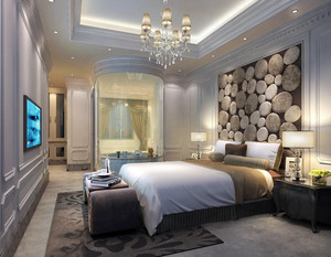 卧室床头背景墙选择肌理感很强的墙砖来装饰,立体的石块造型设计,十分的逼真。深、浅褐色的搭配,更是与房间的整体色调相融合。整个房间装修,看似有点突兀实则却有大气风范。