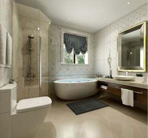 这个新中式风格的卫生间装修的非常年轻,设备也是非常的齐全,淋浴房、浴缸、马桶、洗漱区等。地砖使用的是亚光瓷砖,具有一定的防滑性。