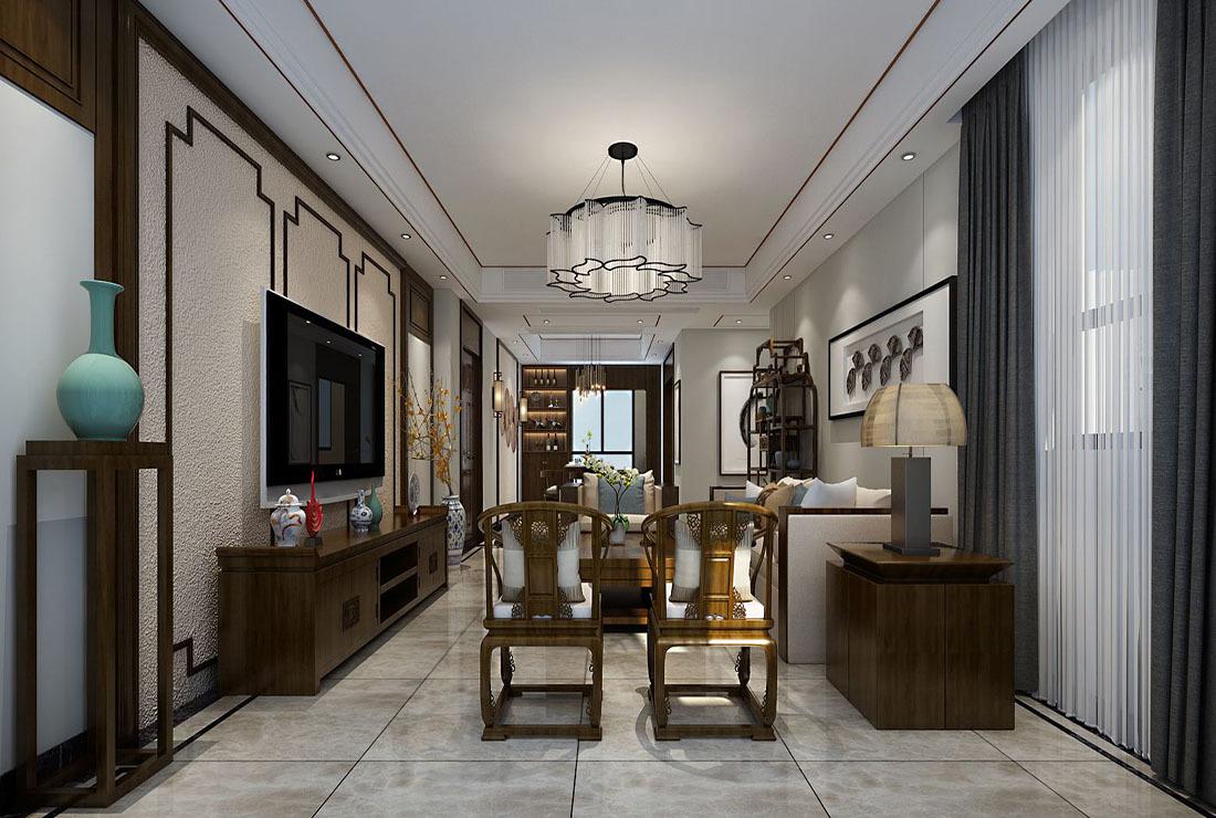 新中式别墅客厅装修效果图大全