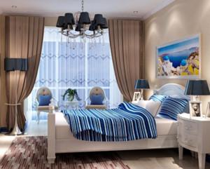 地中海风格卧室背景墙装饰效果图