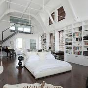 现代大面积卧室书房装修效果图