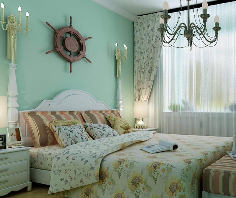 100平米美式田园风格卧室背景墙装修设计效果图