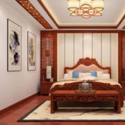 中式风格卧室背景墙装修设计效果图