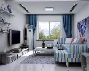 地中海风格客厅窗帘装修设计效果图