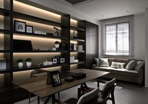 现代化的书房装修在配色上极其的简单,黑色与原木色就足够了。百叶窗采光与通风都比较的好,学累了还有沙发可以休息。
