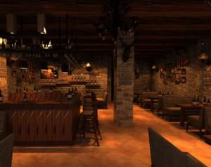 90平米复古风格酒吧装修设计效果图