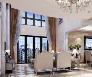 大户型欧式风格客厅窗帘装修效果图