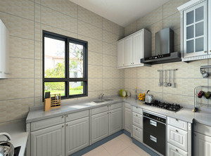 厨房转角的设计吊柜不吊顶,毕竟要结合地柜进行合理的间距设计,转角设计的橱柜台面搭配白色,这样装的厨房更显亮堂。显得厨房更宽敞一些,大家可以参考2019厨房设计装修效果图。