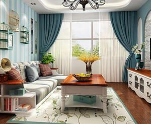 地中海客厅窗帘装修效果图