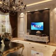 100平简欧风格客厅电视背景墙装修效果图