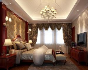 中式风格卧室窗帘装修效果图