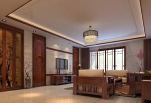 中式几何客厅吊顶装修效果图