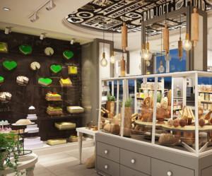 60平米日式风格面包店装修效果图
