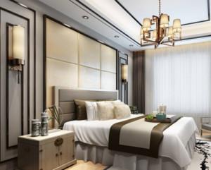 现代中式风格卧室背景墙装修效果图