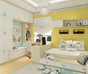 淡黄色的墙面让整个卧室显得年轻化,富有青春的气息。榻榻米沿墙摆放,白色的垫子正好与黄色的墙面搭配。在榻榻米上摆上几个靠垫也是很有趣的。