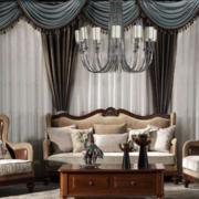 欧式客厅窗帘装修设计效果图