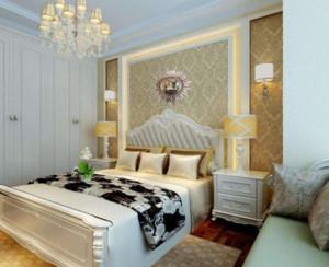90平米宜家风格卧室背景墙装修设计效果图