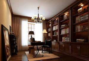 美式书房吊顶装修效果图