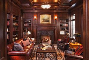 美式奢华风格书房吊顶装修效果图