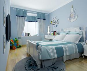 地中海风格卧室窗帘装修效果图