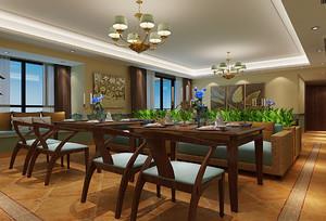 现代东南亚风格餐厅吊顶效果图
