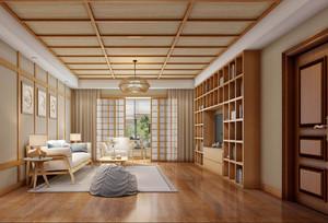 现代日式风格客厅吊顶装修效果图