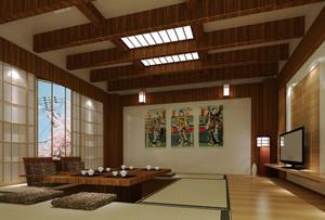 传统日式客厅吊顶装修效果图