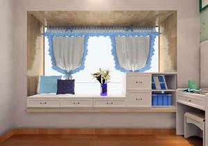 书桌飘窗台一体组合效果图
