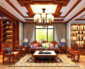 中式风格别墅客厅窗帘装修效果图