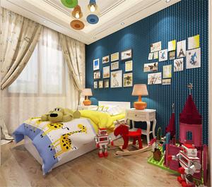 可爱卡通风格儿童房,以深蓝色为主色调,塑造一种沉稳的感觉,墙角开辟出一块玩具地,孩子可以在这享受搭建玩具的快乐,照片墙摆放规整。