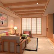 原木风日式客厅吊顶装修效果图
