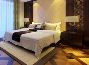 80平米中式风格卧室背景墙装修效果图