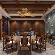 日式复古风格餐厅吊顶装修效果图