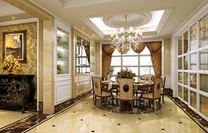 现代欧式餐厅方形吊顶装修效果图